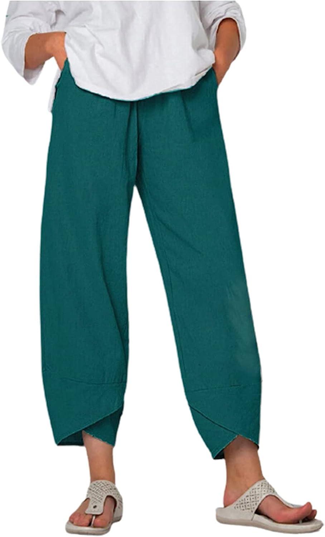 Meengg Capri Bargain Pants for Women Casual Elas Drawstring Linen Cotton quality assurance