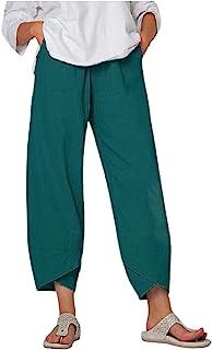 QiFei Broeken voor dames, katoen, linnen, 7/8 zomerbroek, licht losse elastische band, casual, solide zakken, los met klei...
