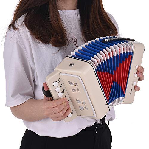 NLYWB Mini Kids Knopfakkordeon, Akkordeon-Tasteninstrumente mit 7 Tasten und 3 Luftventilen, Instrumenten-Musikspielzeug für das frühe Lernen