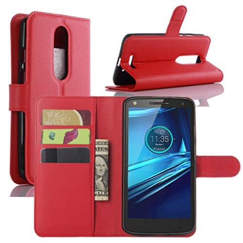 HualuBro Moto X Force Hülle, [All Aro& Schutz] Premium PU Leder Leather Wallet HandyHülle Tasche Schutzhülle Flip Hülle Cover für Motorola Moto X Force Smartphone (Rot)