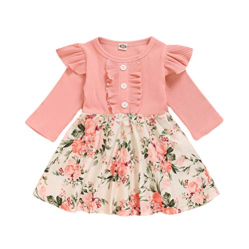 Toddler Baby Girl Ruffle Long Sleeve One Piece Dress Knitted Top Floral Skirt Fall Winter Clothes (Pink, 12-18 Months)
