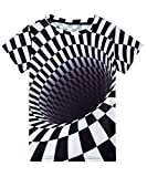 uideazone Kid Boys Novelty 3D Black White Striped T-Shirt Casual Short Sleeve Summer Tee Shirt for Boys Girls 6-8 Years