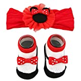 Disney Baby Girls Minnie Mouse Headwrap and Booties Gift Set, red, white, black, 0-12M