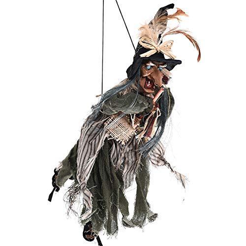 Halloween hangende geanimeerde heks, sprekende en heldere ogen prop decoratie, grappige heksen perfect voor spukhuis, outdoor, tuin, erf