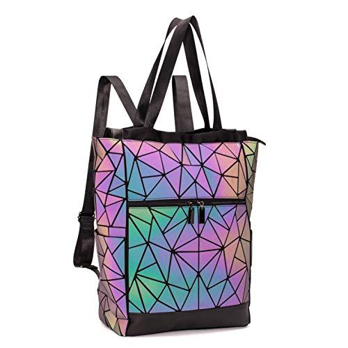 FZChenrry Geometrische Tasche Geometrischer Rucksack Damen Leuchtender Holographic Rucksäcke Reflektierend Festival Beutel NO.1
