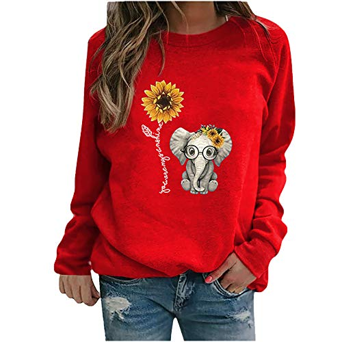 Sudaderas Tops Casuales Damas Invierno para Mujer con Estampado de Girasol con Cuello rendondo Sudadera Blusa Camiseta Suéter 8 Colores YANFANGSRed