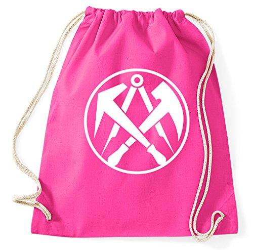 Styletex23 Dachdecker Zunft Logo Turnbeutel Sportbeutel, pink