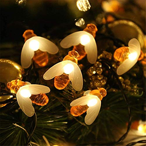 Halloween Decorations Lights, Solar Garden Lights, Honey Bee Fairy String Lights, 8 Mode Waterproof Outdoor/indoor Garden Lighting for Flower Fence, Lawn, Patio, Party, Christmas , holiday(warm White