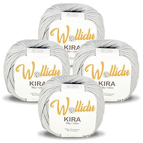 Wollidu Kira - Juego de 4 ovillos de hilo de algodón 100% para tejer y ganchillo, 50 g, color gris...