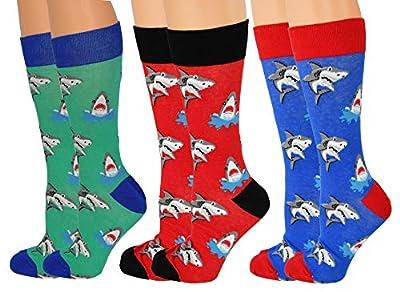 ARAD Novelty Shark Socks for Men and Women, Crazy Ocean-Themed Apparel (3-Pack)