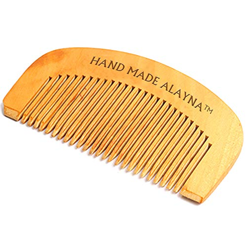 Alayna (TM) Beard Comb and Mustache Comb with Wide Teeth Great for Applying Beard Oil and Beard Balm for Men, Wooden Brush Beard Care Straightener Grooming Kit Perfect for Home and Travel