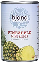 Organic & Vegan Mini pineapple rings in Pineapple juice Perfectly ripened Sliced and packed fresh in its own juice Perfect for topping muesli and breakfast cereal, or adding to smoothies and desserts