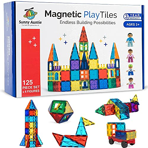Magnetic Tiles 125pcs + 4 Figures, Magnetic Tiles for Kids, Toy for 3 4 5 6 7 8 Year...