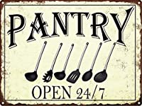 パントリーオープン24/7ブリキサインヴィンテージノベルティおかしい鉄の絵の金属板