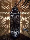 Orientalische Laterne aus Metall Schwarz Frane 130cm groß | Marokkanische Gartenlaterne für draußen, Innen als Bodenlaterne | Marokkanisches Gartenwindlicht Windlicht hängend oder zum hinstellen