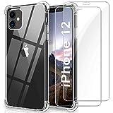 WINmall Cover per iPhone 12 Mini, 2 Pezzi Pellicola in Vetro Temperato, [Rinforzo a Quattro Angoli] Antiurto Bumper TPU Trasparente Silicone Custodia per iPhone 12 Mini (5.4'')