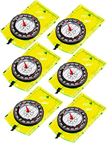 Gejoy 6 Pieces Navigation Backpacking Compass Orienteering Hiking Compass Adjustable Map Reading Compass for Boy Scout Kids Outdoor Camping (Style 1)