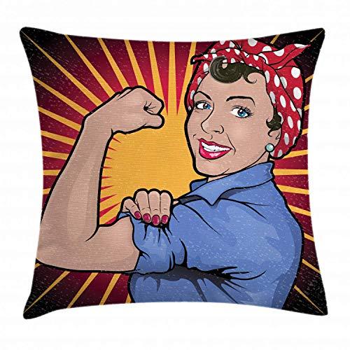 MZZhuBao Funda de cojín feminista, ilustración de una mujer retro fuerte y poderosa que muestra el brazo músculo vintage, diseño decorativo, cuadrado, 45,72 x 45,72 cm, multicolor