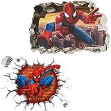 Kibi 2 PCS Stickers Muraux Spiderman 3D Effect Autocollants Chambre Decor Décoration Sticker Adhesif Mural Géant...