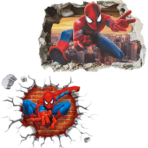 Kibi Spiderman 2PC S3D-effekt Aufkleber Spiderman im Wanddurchbruch Loch Marvel's Spider-Man Ultimate Wandtattoo Kinderzimmer Spiderman Wandsticker Spiderman Wandaufkleber Spiderman