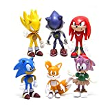 6Pcs Sonic The Hedgehog Toy PVC Sonic Shadow Tails Characters Figure Toys for Children Animals Toys Set Gift for Friends