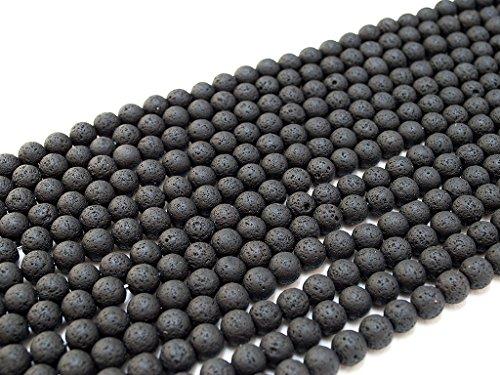 Beads Ok, Natürlichen Schwarz Vulkan Lava Qualität A 6mm Rund Kugel Edelstein Perlen Schmuckperlen ~38cm ein Strang. Verkauft von Strang. 6mm Round Natural Black Lava A Grade Gemstone Beads