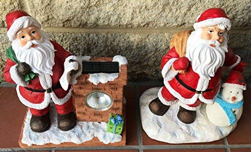 Due Solar Santa ornamenti–Babbo Natale con pupazzo di neve e Babbo Natale con camino
