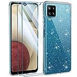AROYI Funda Compatible con Samsung Galaxy A12 / M12 Glitter y 2 Piezas Protector de Pantalla Vidrio Templado, Carcasa Liquid Crystal Brillante Silicona Transparente Purpurina Movil TPU Bumper