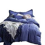 No-branded Sygjal 4pcs Color sólido algodón Acolchado con sábanas de algodón Lavado Hojas de Cama de algodón compartida de la Cubierta del edredón de Cama (Color : Púrpura, Size : 2.0m)