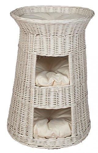 Casa Mascotas, Torre para gato de sauce, mimbre europeo con 3 almohadas, Cojín color:claras;Cat tower model:Torre Blanca