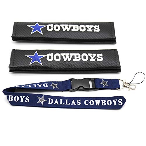 2 Pack NFL Carbon Fiber Car Seat Belt Shoulder Pad Cover Embroidered Team Logo and 1pc Lanyard with Detachable Buckle Fit for NFL Fans