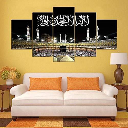 BOCTARV - Canvas Wall Art 5 Picture Prints On Canvas Mecca Hajj Islamic Muslim Landscape Painting Modern Giclee Artwork Stretched and Framed Ready Hang Canvas Art for Home Decoration