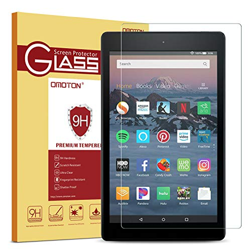 OMOTON Screen Protector for All-New Fire HD 8 (2018/2017/2016 Release), Tempered Glass / HD / 9H Hardness