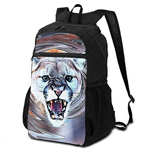JOCHUAN Packable Backpacks Cougar Animal Art Swirl Decorative Page Packable Backpack for Women Bags Hiking Women Lightweight Waterproof for Men & Womentravel Camping Outdoor