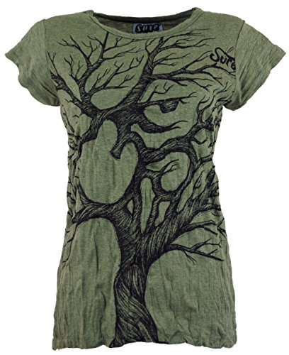GURU SHOP Sure T-Shirt Om Tree, Damen, Olive, Baumwolle, Size:L (40), Bedrucktes Shirt Alternative Bekleidung