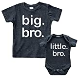 Big bro Little bro Shirts Big Brother Little Brother Shirt Lil Boys Matching Outfits (Charcoal Black, Kids (3Y) / Baby (1-3M))