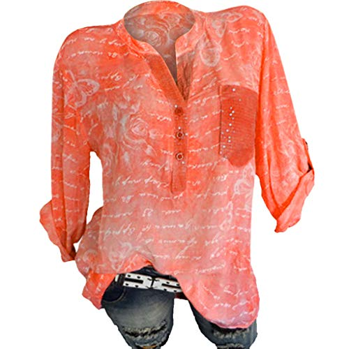 AmyGline Oberteile Damen Bluse Vintage Groß Größe Lose Pailletten Drucken Stehkragen Groß Größe Tunika Tops Freizeitbluse Sommerblusen Hemden Shirt