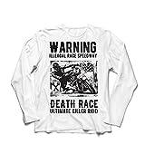 lepni.me Camiseta de Manga Larga para Hombre Carrera de la Muerte: Paseo definitivo, Carreras de Motos, Motorista de cráneo, clásico, Vintage, Moto Retro (Medium Blanco Multicolor)