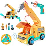 HISTOYE RC Take Apart Car Stem Toys withElectricDrill RemoteControlCraneCar TrucksToys for Kids Toddlers Construction KitBuildingSets Toys Gifts for Age 345678 YearOldBoys Girls
