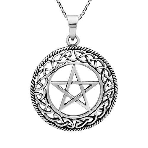 AeraVida Round Celtic Knot Pentagram .925 Sterling Silver Pendant Necklace
