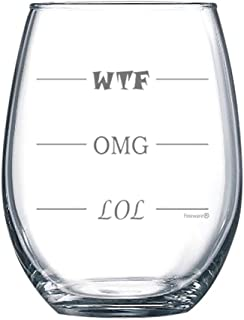 Fineware LOL-OMG-WTF 15 oz Stemless Funny Wine Glass – Finally a Wine Glass for Every Mood!