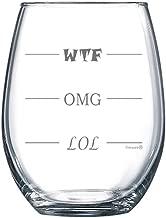 Fineware LOL-OMG-WTF 15 oz Stemless Funny Wine Glass - Finally a Wine Glass for Every Mood!