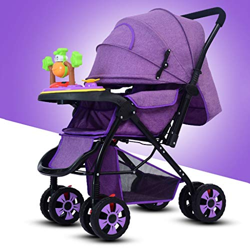 Best Buy! STRR Baby Stroller, Foldable and Portable Pram Carriage Pushchair, 5-Point Harness and High Capacity Basket (Color : Purple)