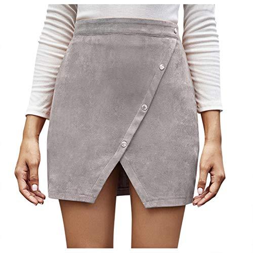 yayay Falda de cintura alta con botones irregulares para mujer de moda europea y americana