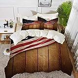 ropa de cama - Juego de funda nórdica, decoración de la bandera americana, diseño de EE. UU. en forro vertical de madera rústica con fondo de madera rústica, funda nórdica de microfibra hipoalergénica