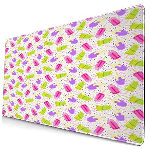 Großwild-Mauspad,Eis Eis am Stiel im Cartoon-Stil auf Polka Dot Yummy Fresh Frosting Mu,Rutschfester Schreibtisch-Pad-Schutz,Schreibtisch-Schreibmatte für Desktop,Computer-Laptop,15.8