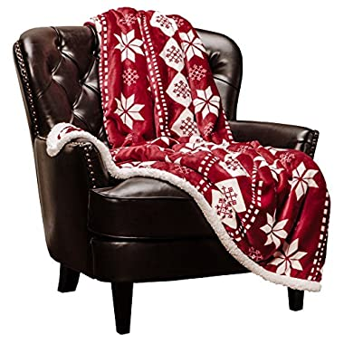 Chanasya Super Soft Fleece Sherpa Holiday Throw Blanket - Luxurious Snuggly Cozy Warm Hypoallergenic Vibrant Burgundy Red and White for Sofa Couch Bed (50  x 65 )- Machine Washable
