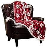 Chanasya Microfiber Fleece Sherpa Holiday Throw Blanket - Vibrant Burgundy Red and White Suitable for Sofa Couch Bed and Living Room (50x65 Inches) -Red