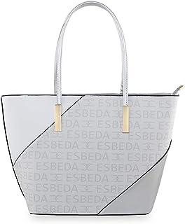ESBEDA White Color Logo Printed Basket Handbag For Women