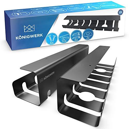 Königwerk® Kabelkanal Schreibtisch fürs Kabel Management - Tisch Kabelführung Kabelmanagement durch Kabelschacht - Cable Organizer Desk